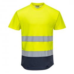 Dwukolorowy t-shirt siatkowy C395